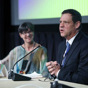 NCCIH deputy director Dr. David Shurtleff speaks at the symposium as Langevin looks on. PHOTO: CHIA-CHI CHARLIE CHANG