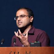 NIBIB's Dr. Hari Shroff shares unpublished work on improvements to microscopy. PHOTO: CHIA-CHI CHARLIE CHANG