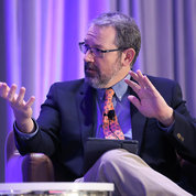 NIMH director Dr. Joshua Gordon moderates a panel discussion on the stigma of addiction. PHOTO: CHIA-CHI CHARLIE CHANG