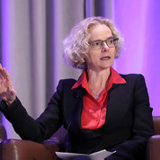 NIDA director Dr. Nora Volkow moderates a panel exploring opioid use disorder, underscoring the massive collective effort needed to solve the crisis. PHOTO: CHIA-CHI CHARLIE CHANG