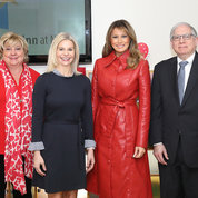 Trump poses with (from l) Children's Inn board member Susan Penfield, chief innovation officer and strategic innovation group lead at Booz Allen Hamilton; Children's Inn CEO Jennie Lucca; and NIH principal deputy director Dr. Lawrence Tabak.  PHOTO: Chia-Chi Charlie Chang