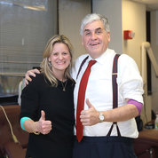 Hargan and his wife Emily, who also donated blood, give the thumbs up afterwards. PHOTO: CHIA-CHI CHARLIE CHANG