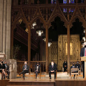 NIH director Dr. Francis Collins speaks from the lectern at the Washington National Cathedral. PHOTO: CHIA-CHI CHARLIE CHANG