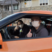 Luke takes his mom for a spin around campus in the Driven to Cure Nissan GT-R. The car originally belonged to Andrew Lee, and is still used as a fundraising vehicle.