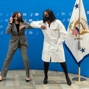Harris greets viral immunologist and research fellow Dr. Kizzmekia Corbett of NIAID's Vaccine Research Center. OFFICIAL WHITE HOUSE PHOTO: LAWRENCE JACKSON