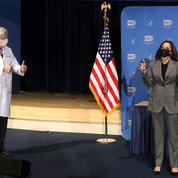NIH director Dr. Francis Collins gives the thumbs up for Harris's remarks about Covid vaccination, NIH's role in developing it and the value of scientific research in general. PHOTO: CHIA-CHI CHARLIE CHANG