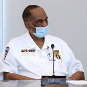 Led by NIH Police Chief Alvin Hinton, several other officers were tapped to share stories about working at NIH. PHOTO: CHIA-CHI CHARLIE CHANG